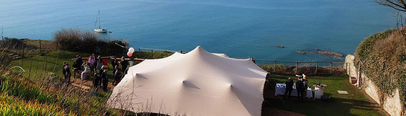 Stretch Tent over ocean in Hermanus