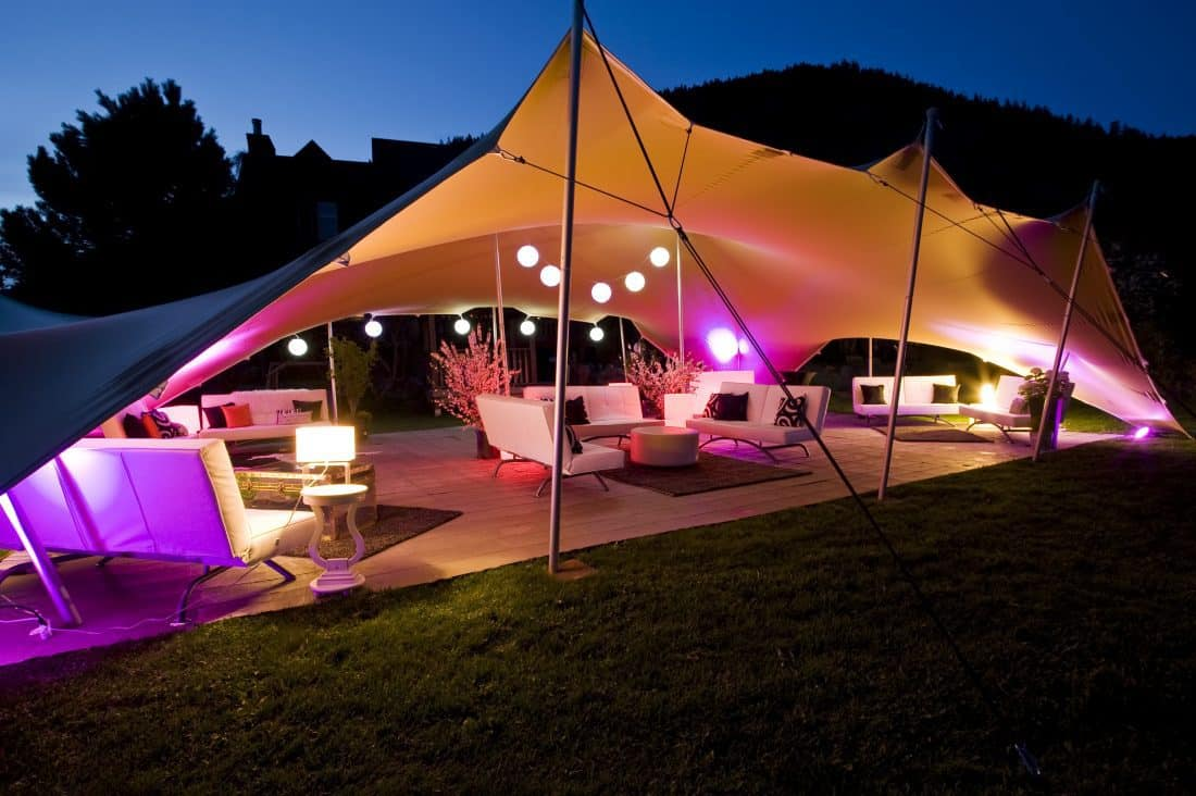 Stretch Tent at night in Gauteng